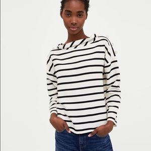 Zara black/white/pearl top